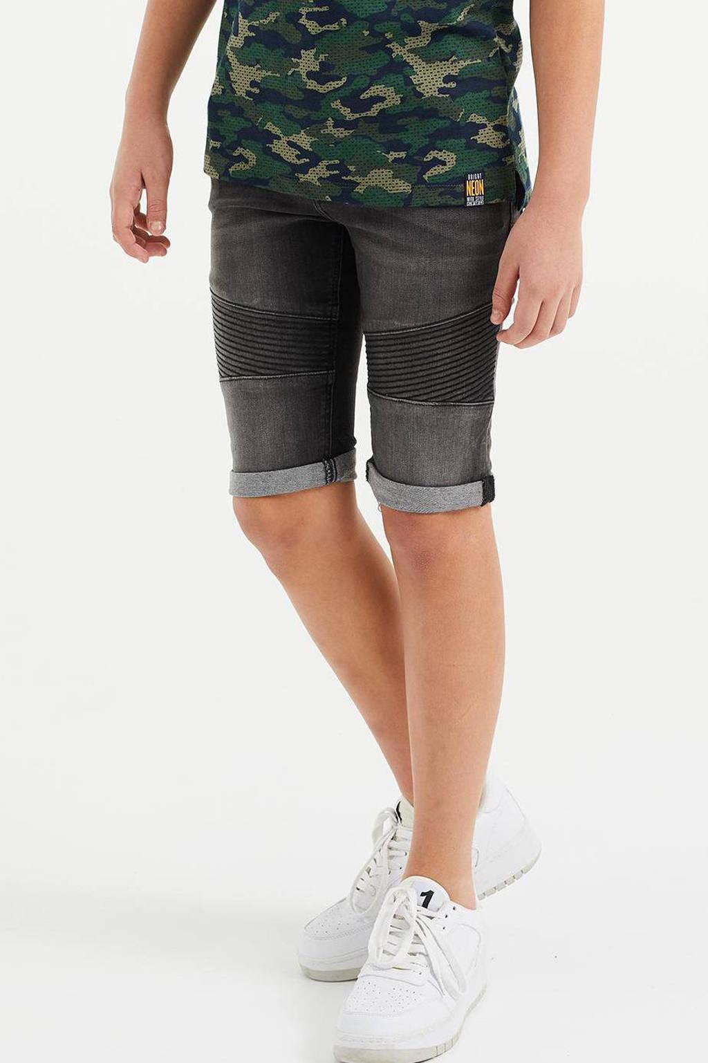 WE Fashion Blue Ridge slim fit jeans bermuda zwart, Zwart