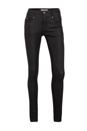 coated high waist slim fit broek Zoe zwart