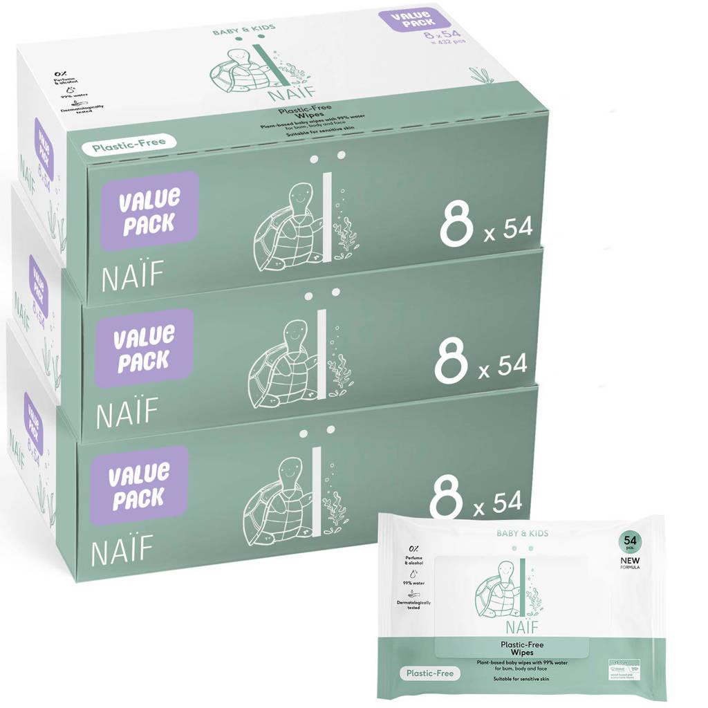 NAÏF Plastic Vrije Baby Voordeelbox billendoekjes - 24 stuks