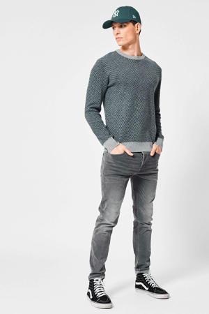 trui Kamden met wol en all over print grijs melange
