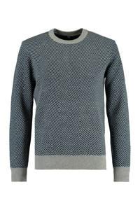 America Today trui Kamden met wol en all over print grijs melange, Grijs melange