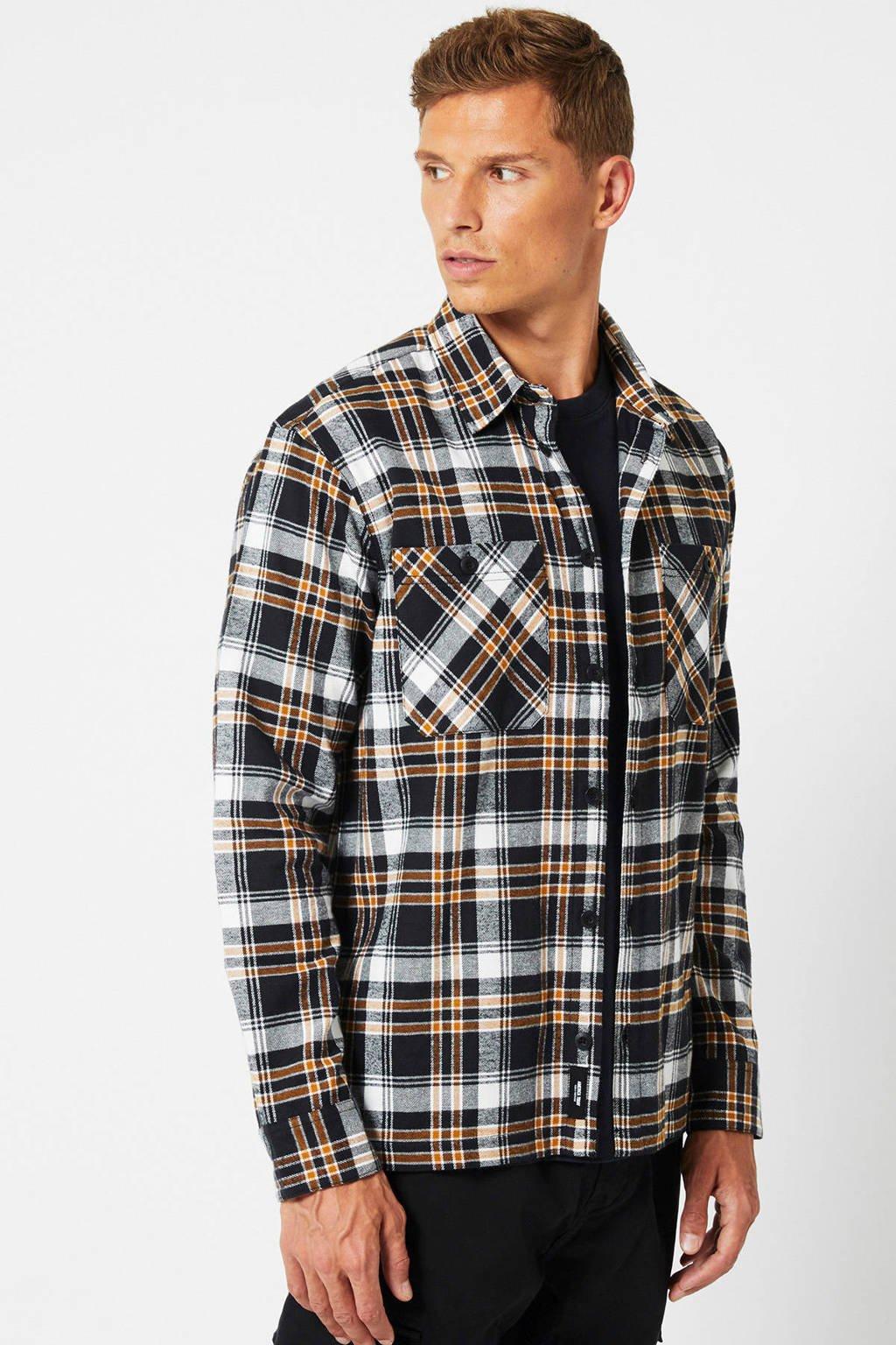 America Today geruit regular fit overhemd Heston zwart, Zwart