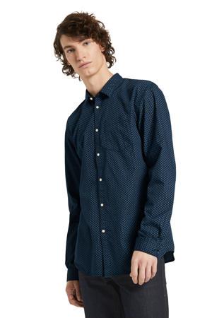 regular fit overhemd met all over print donkerblauw