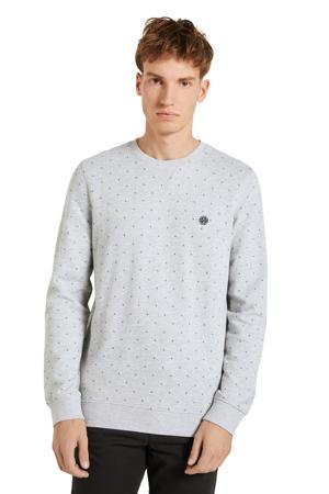sweater met all over print lichtgrijs melange