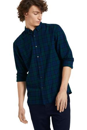 geruit flanellen regular fit overhemd donkerblauw/groen