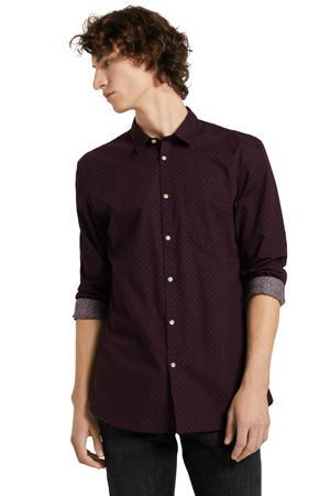 regular fit overhemd met all over print aubergine