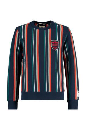 gestreepte sweater donkerblauw/groen/oranje