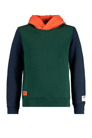hoodie groen/donkerblauw/oranje