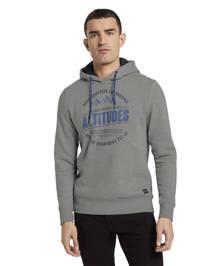 Tom Tailor hoodie met printopdruk grijs melange, Grijs melange