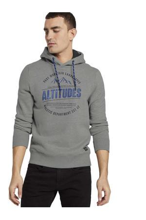 hoodie met printopdruk grijs melange