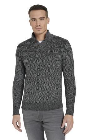 trui met all over print zwart/grijs