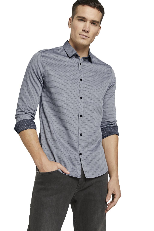 Tom Tailor slim fit overhemd met all over print en textuur grijs, Grijs
