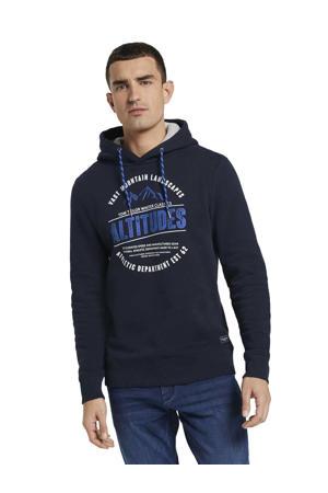 hoodie met printopdruk donkerblauw