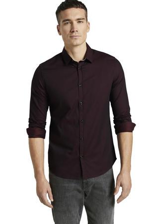 slim fit overhemd met all over print en textuur aubergine