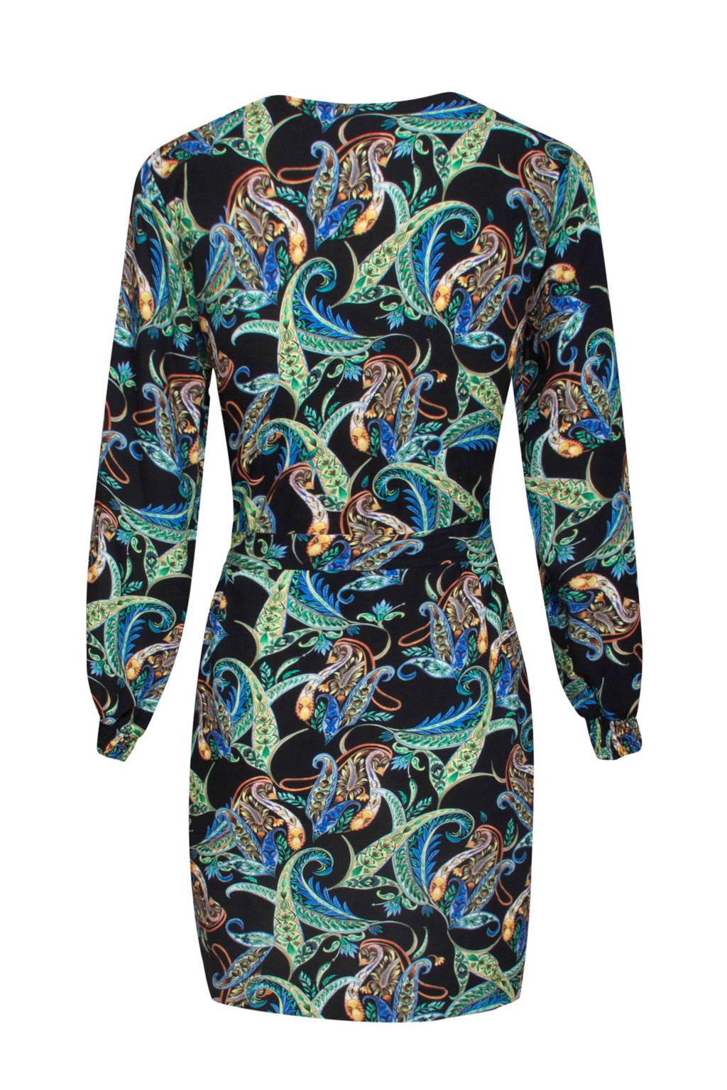 Smashed Lemon jurk met all over print zwart/blauw/groen, Zwart/blauw/groen