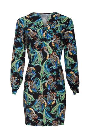jurk met all over print zwart/blauw/groen
