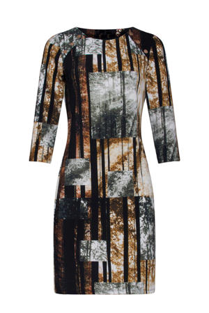 jurk met all over print bruin/zwart/lichtgrijs