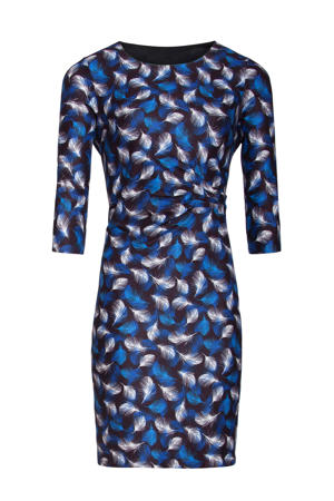 jurk met all over print blauw/wit