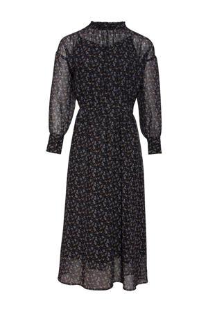 gebloemde semi-transparante blousejurk zwart/oker/wit