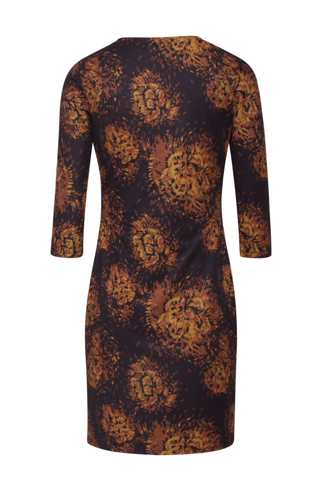 Smashed Lemon jurk met all over print donkerpaars/donker oranje/okergeel, Donkerpaars/donker oranje/okergeel