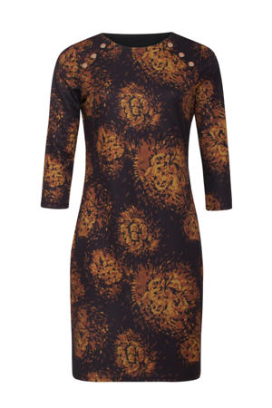 jurk met all over print donkerpaars/donker oranje/okergeel