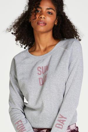 pyjamatop met tekstopdruk grijs