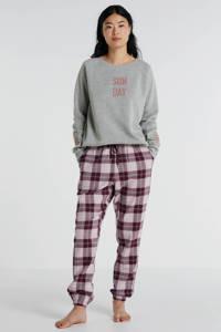 Hunkemöller pyjamatop met tekstopdruk grijs, Grijs