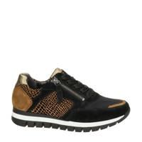 Gabor   leren sneakers zwart/bruin, Zwart/bruin