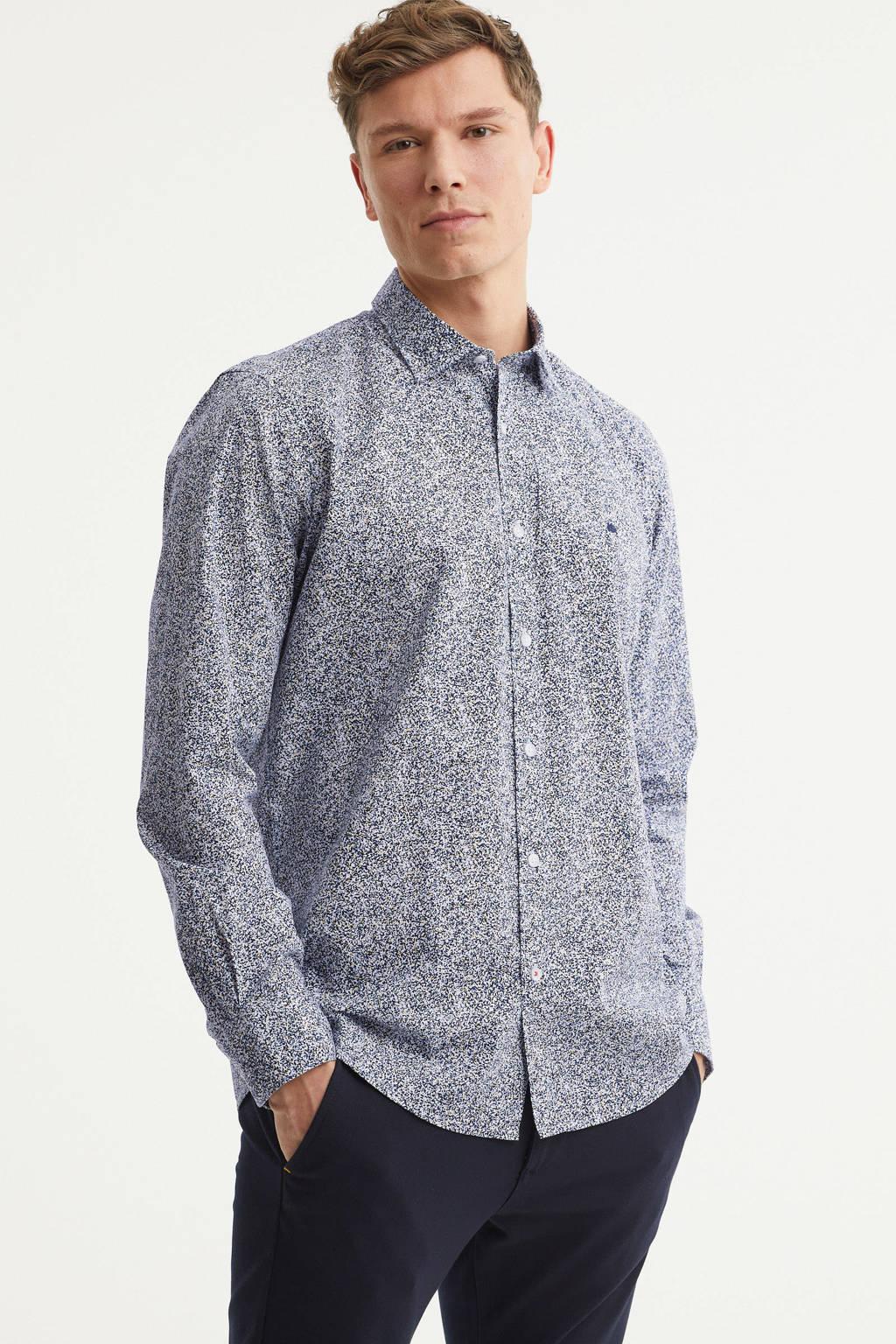 LERROS slim fit overhemd met all over print donkerblauw/wit, Donkerblauw/wit