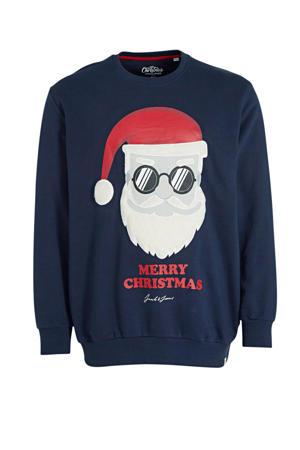 sweater met printopdruk Plus Size donkerblauw