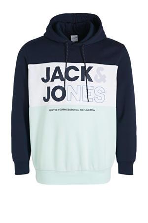 hoodie met logo Plus Size lichtblauw/wit/donkerblauw