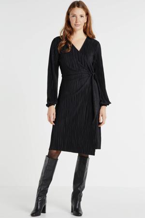 plissé jurk zwart