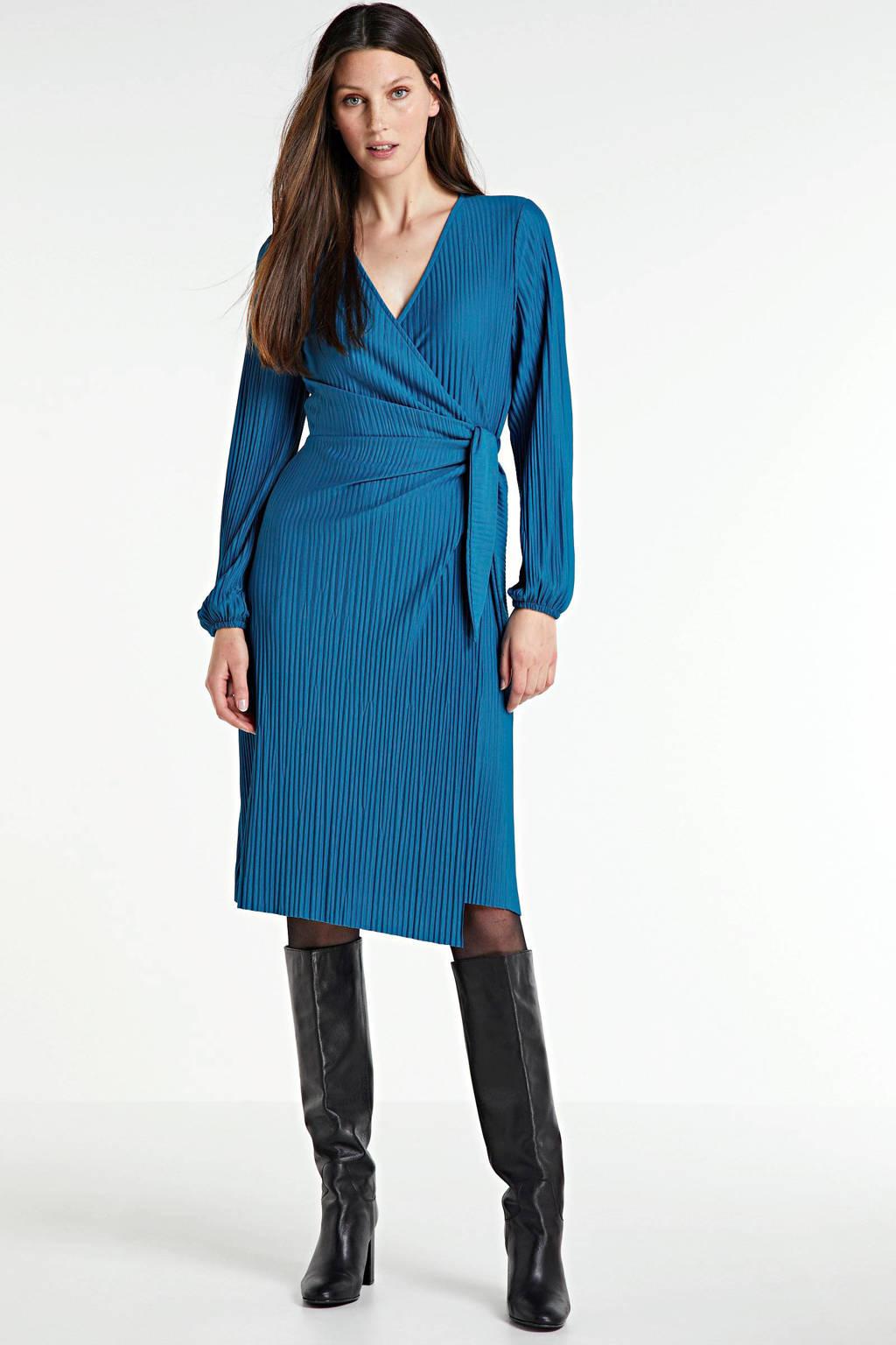 anytime plissé jurk blauw, Blauw