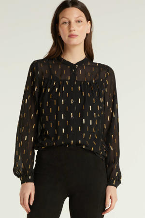 blouse met goudprint zwart