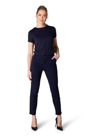 heavy jersey broek Ymke straight fit donkerblauw