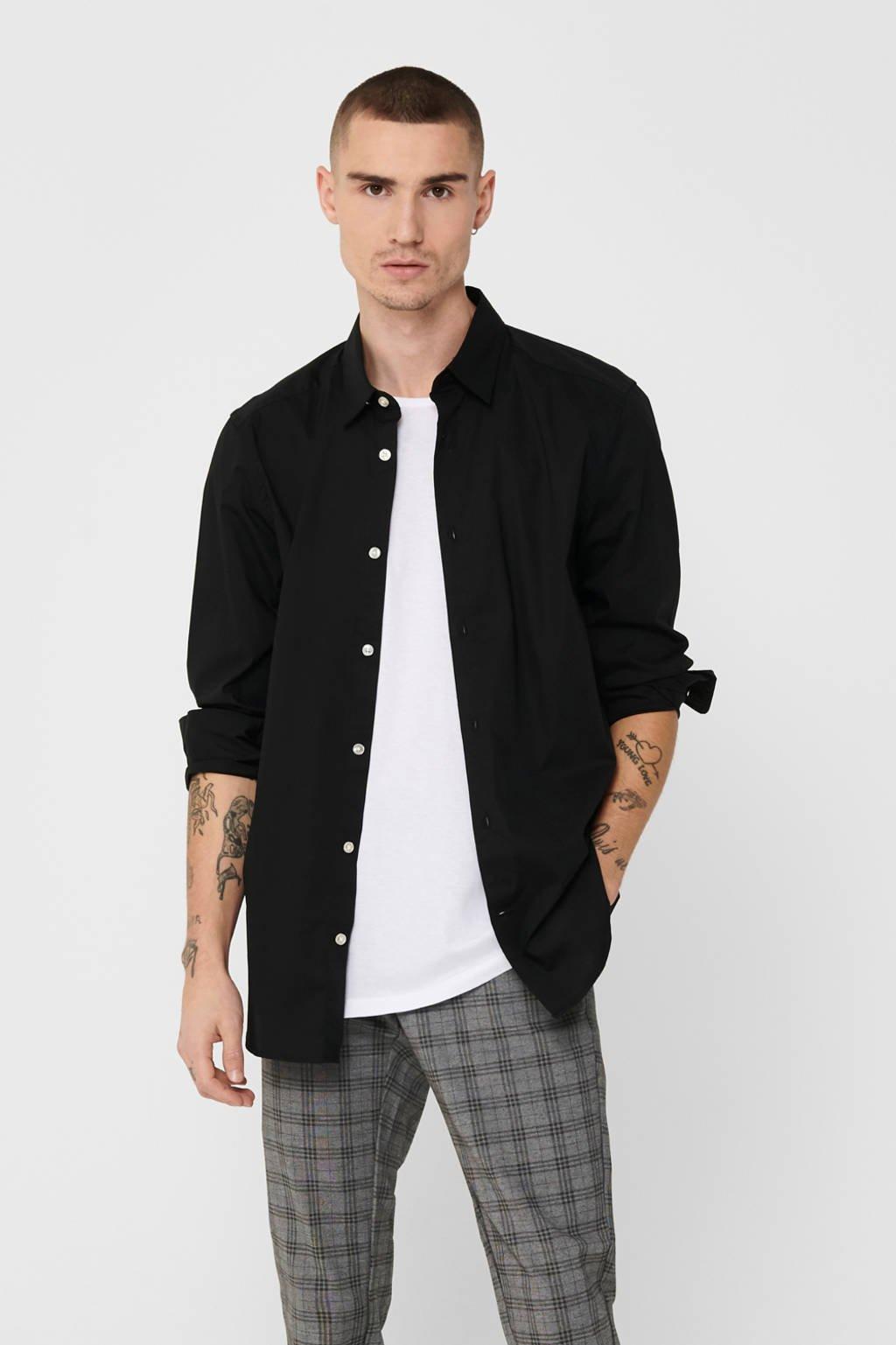 ONLY & SONS slim fit overhemd zwart, Zwart