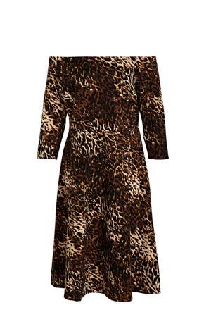 off shoulder jurk met panterprint bruin