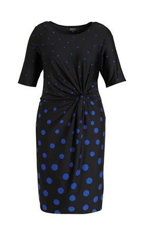 jurk met stippen en plooien zwart/blauw