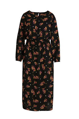 gebloemde jurk zwart/multi