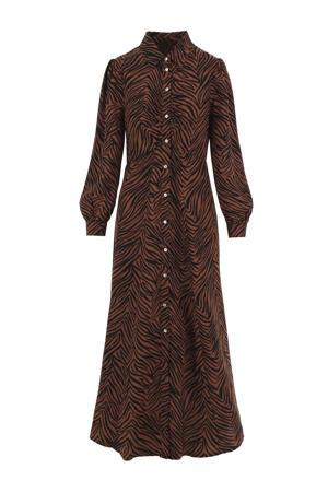 maxi jurk met zebraprint en plooien bruin/zwart