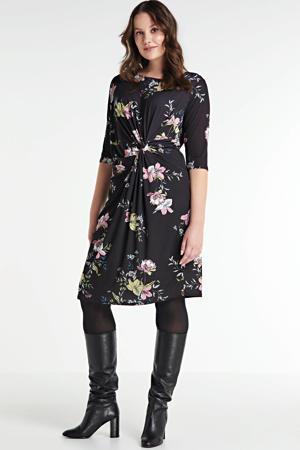gebloemde jurk zwart/groen/roze