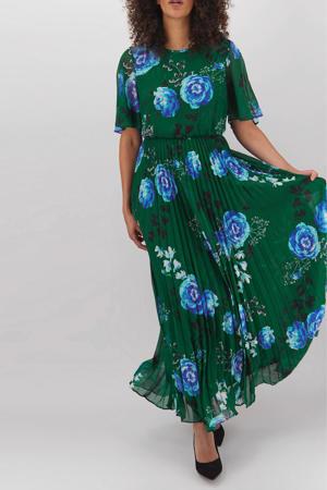 gebloemde semi-transparante maxi jurk donkergroen/blauw