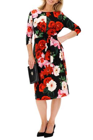 gebloemde jurk zwart/rood/roze