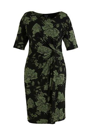 gebloemde jurk zwart/groen