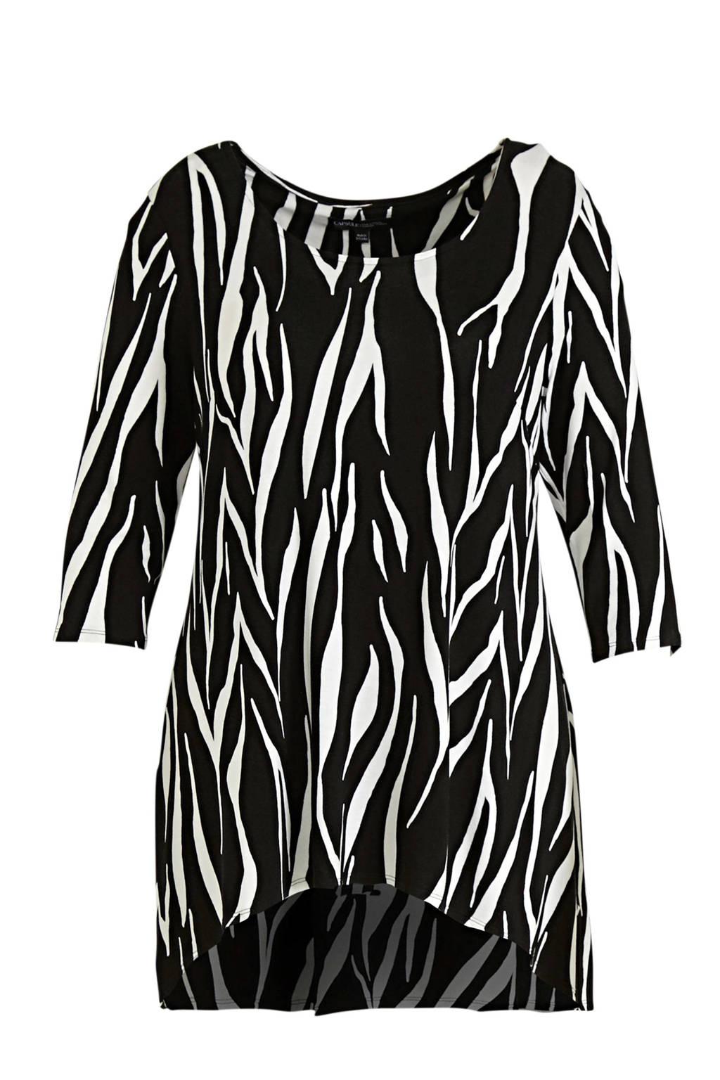 JD Williams top met zebraprint zwart/wit, Zwart/wit