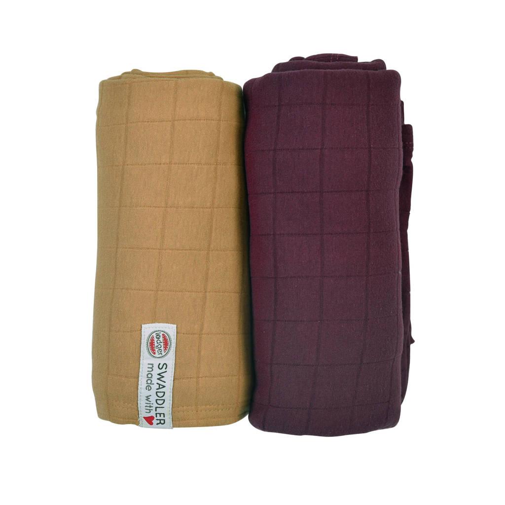 Lodger Solid hydrofiele luier XL 120x120- set van 2 bruin/paars, Bruin/paars