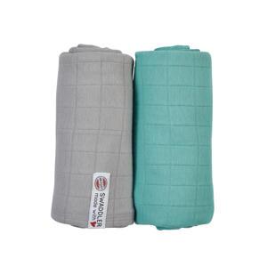 Solid hydrofiele luier XL 120x120- set van 2 grijs/turquoise