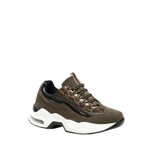 chunky dad sneakers groen/panterprint