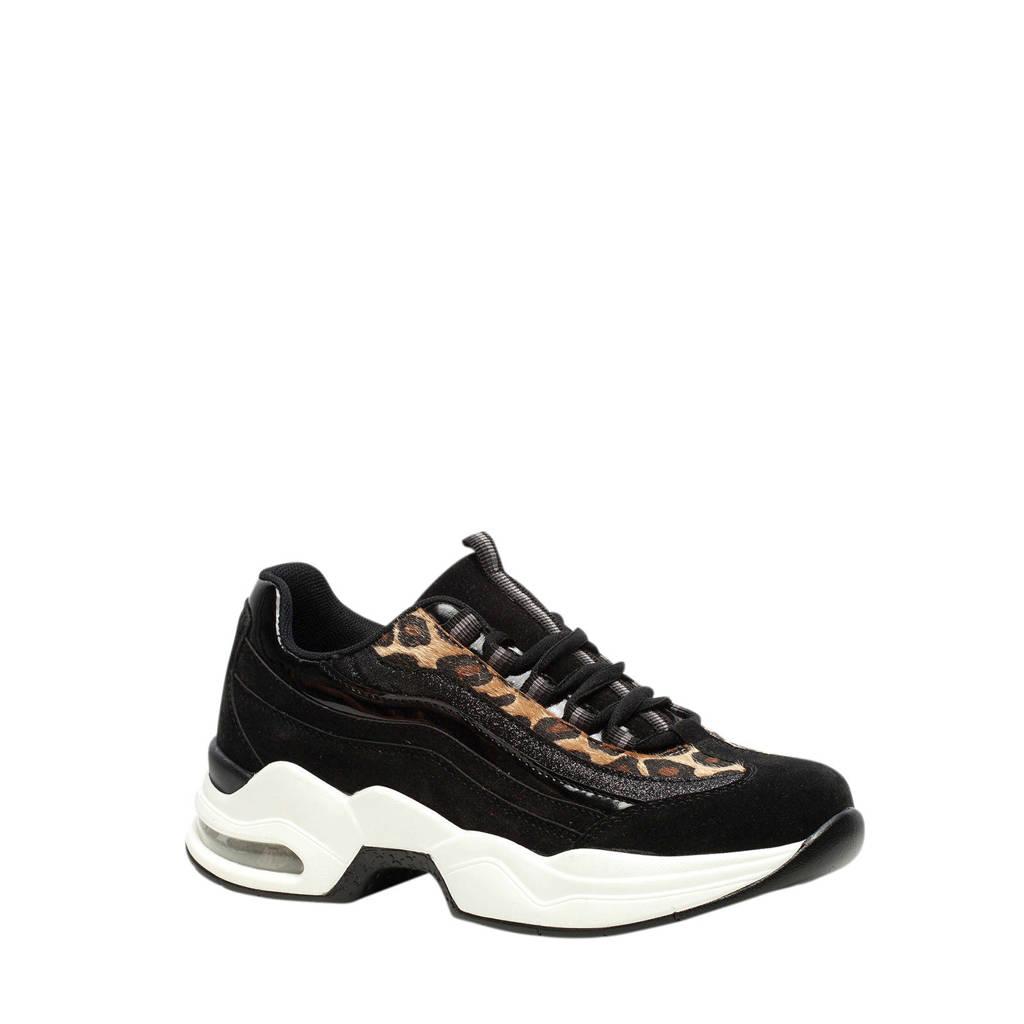 Scapino Blue Box   chunky dad sneakers zwart/panterprint, Zwart/bruin