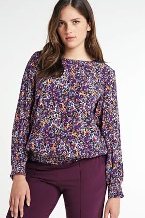 top Hawa met all over print en open detail paars/oranje/wit